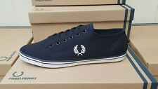 """FRED PERRY """"KINGSTON"""" NAVY CANVAS SHOES NEW BOXED  UK 6.5"""
