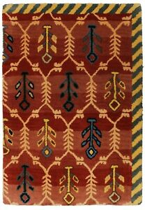 Indian Handmade Rug Contemporary Area Rug 2X3 Antique Indian Hand Tufted Carpet