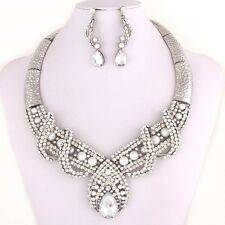 Spectacular Silver Tone Necklace & Earrings Set with Rhinestones & Pearls