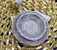 3 CT. T.W. Round Cut Diamond Medallion Pendant Pave Charm 10K Yellow Gold Finish