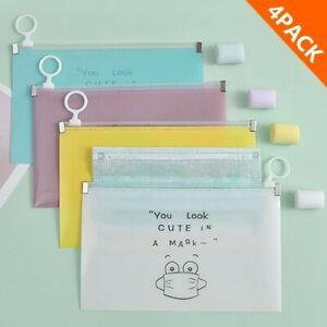 4 Face Mask Package Case Storage Box Portable Plastic Bag Waterproof Keep Clean