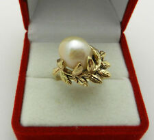 Vintage 10k Yellow Gold Baroque Pearl Ladies Ring size 6.5