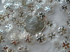 "Clear & Silver Flower Buttons 13MM 2H plastic snowflake 100pc Lot 1/2"" scrapbook"