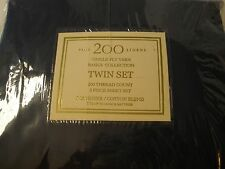 Basics Collection Twin Set Flat Sheet Fitted Standard Pillow Case New Navy Blue