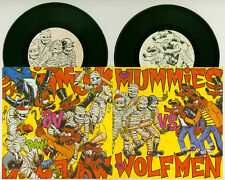 "THE MUMMIES VS THE WOLFMEN 2x 7"" 45 RARE OOP GARAGE PUNK VINYL FIRST PRESSING"