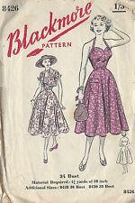 1950s Vintage Sewing Pattern B34 HALTERNECK DRESS & JACKET (R913)