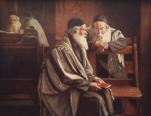 WILLIAM ROTHENSTEIN c1900 Oil Painting IN SPITALFIELDS SYNAGOGUE 1930 Book Print