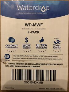 Waterdrop WD-MWF Fridge Water Filter For Fits GE MWF New & Sealed Pack Of 4