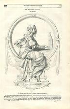 La musique sacré statue de Beethoven à Bonn Ernst Hähnel sculpteur GRAVURE 1846