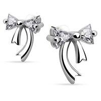 Ohrstecker Kristall-Schleife 925 Silber für Damen Ribbon Frauen Ohrringe echt