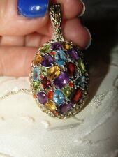 """Stunning Genuine Multi Gemstone Pendant  With Silver Chain Neckl;ace 18"""" NWOT"""
