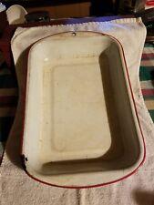 vintage white enamelware baking pan