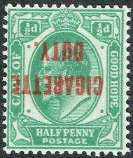1902 Error Cape of Good Hope KGV 1/2d Green Inverted 'CIGARETTE DUTY'