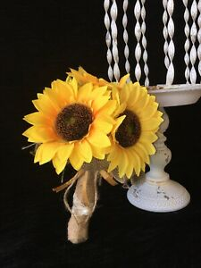 Wedding Bouquet Silk Flower Bridal Bridesmaid yellow Sunflower burlap LOT OF 6
