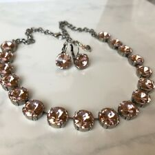 Swarovski Crystal Elements Antique Pink Necklace Earrings 12mm Jewelry Set New