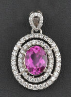 14KT White Gold 2.70Ct Natural Pink Tourmaline EGL Certified Diamond Pendant