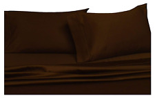 Solid Chocolate California-King Size Sheets, 4Pc Bed Sheet Set, 100% Cotton, 300