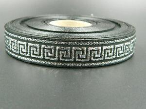 25 meters Jacquard Ribbon Trim *16mm width Greek Key*Black/Silver*