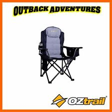 OZTRAIL BIG BOY CAMPING ARM CHAIR STRONG 220KG WEIGHT RATING LARGE RATED BLACK