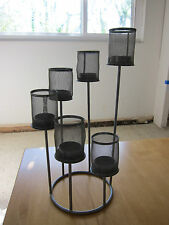 Modern Looking Grey Tea Light Candle Stand 15 Inch Tall Centerpiece