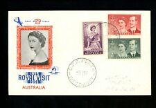 Postal History Australia #267-269 FDC Queen Elizabeth II Visit 1954 Perth