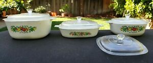 7pc Set Vintage Corning Ware La marjolaine Casserole Baking Dishes Lids Toys 70s