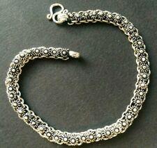 SOLID SILVER BRACELET *BN* fine detail, .925 silver, 19.5cm *PIKUN* stunning!