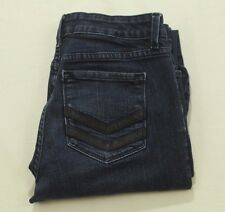 NYDJ Straight Leg Jeans Size 6 Dark Wash Leather Chevron Embellished Pocket