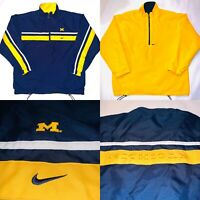 VTG Michigan Wolverines Team Nike Windbreaker REVERSIBLE Jacket Mens LARGE Rare!