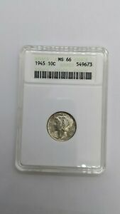 1945 Silver Mercury Dime 10c Coin - ANACS - MS 66