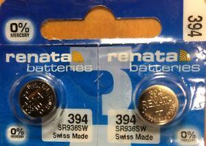 2-Renata 394 Battery SR936SW SR45 Silver Oxide. Authorized Seller. Exp. 01/2023