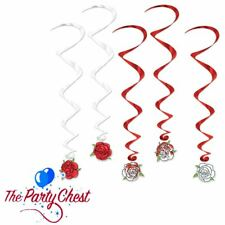 5 ROSE WHIRL DECORATIONS English Red White Rose Party Hanging Swirl Decorations