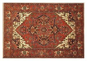 Red Affordable Rugs Traditional Handmade Rug Wool 8' x 11' Rug