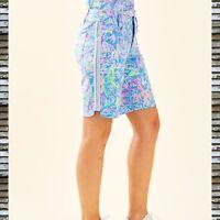 "NEW LILLY PULITZER 'Bettina' Luxletic  9"" Golf Shorts Blue UPF 50 Sz 2 NWT"