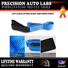 "2Pcs 6'x 2"" Heavy Duty Nylon Lifting Sling Flat Tow Strap Web Lift Sling Blue US"