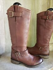 STEVE MADDEN Fairmont brown leather riding motorcyle knee high boots 8M
