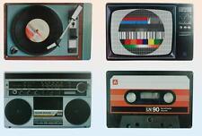 Placemats/Place Mats,Set 4 Vintage Nostalgic/Retro Radio/TV/Cassette/Record Deck