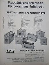 4/1973 PUB SAFT NICKEL CADMIUM BATTERIES AIRLINES PIA LTU KLM TAP ORIGINAL AD