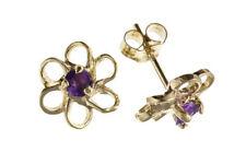 Stud Amethyst Yellow Gold Fashion Earrings