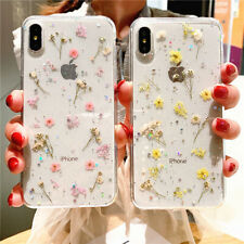 Glitter Real Dried Flower Clear Phone Case Cover for iPhone SE 2020 XS 11 7 8 XR