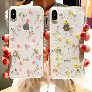 Glitter Real Dried Flower Clear Case Cover for iPhone 12 13 Pro Max 11 SE 7 8 XR