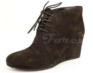 Womens CLARKS Dark Brown Suede Wedges / Ankle Booties Sz. 12 M MSRP $139.95