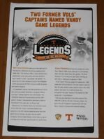 2007 Will Overstreet signed Tennessee Vols NCAA Football Legends Poster