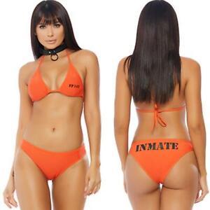 Inmate Prisoner Costume Bikini Top Set Orange Black Jail Convict Guilty 558704