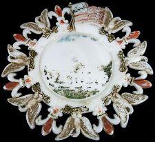 """1903 Westmoreland Victorian Milk Glass Flag Eagle Fleur De Lis Pattern 7""""d Plate"""