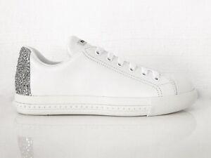 Miu By Prada Ladies Shoes Trainers White Shoes Calf Glitter White Eu 39 New