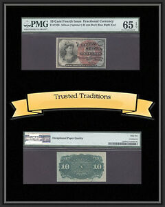 TT FR 1259 10 CENT FOURTH ISSUE FRACTIONAL LARGE RED SEAL PMG 65 EPQ GEM UNC.
