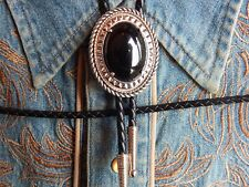 New Black Onyx Bolo Bootlace Tie Leather Cord Silver Metal Cowboy Western Goth