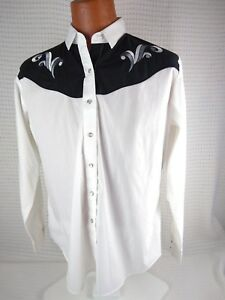 ELY COUNTRY CHARMERS EMBROIDERED PEARL SNAP WESTERN COWBOY LS SHIRT XL WOMENS