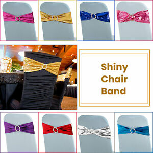 1-100 Shiny Stretch Chair Band With Buckle for Chair Cover Wedding Decor Party